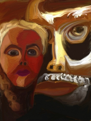 Abstract face of woman with minotaur (large view)