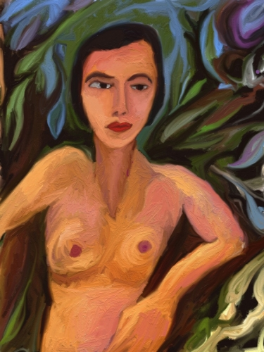 torso of naked woman, arm leaning on branch (large view)