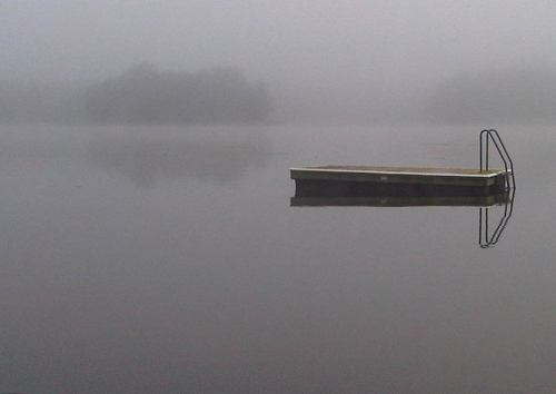 Jetty in the fog by amy oestlund