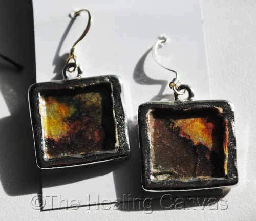 Earth toned Portal Art work earrings #011115