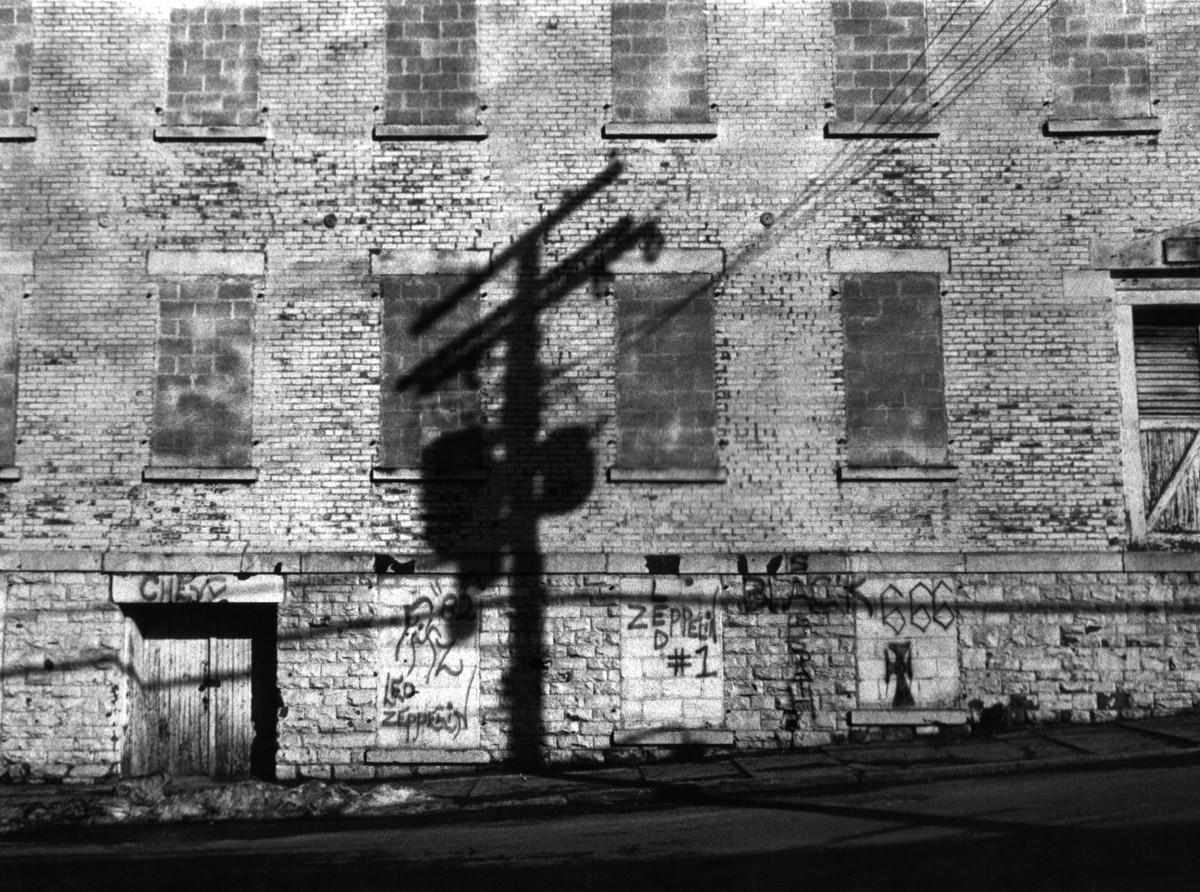 Transformer shadow on Piano Bldg. Poughkeepsie, N.Y. (large view)