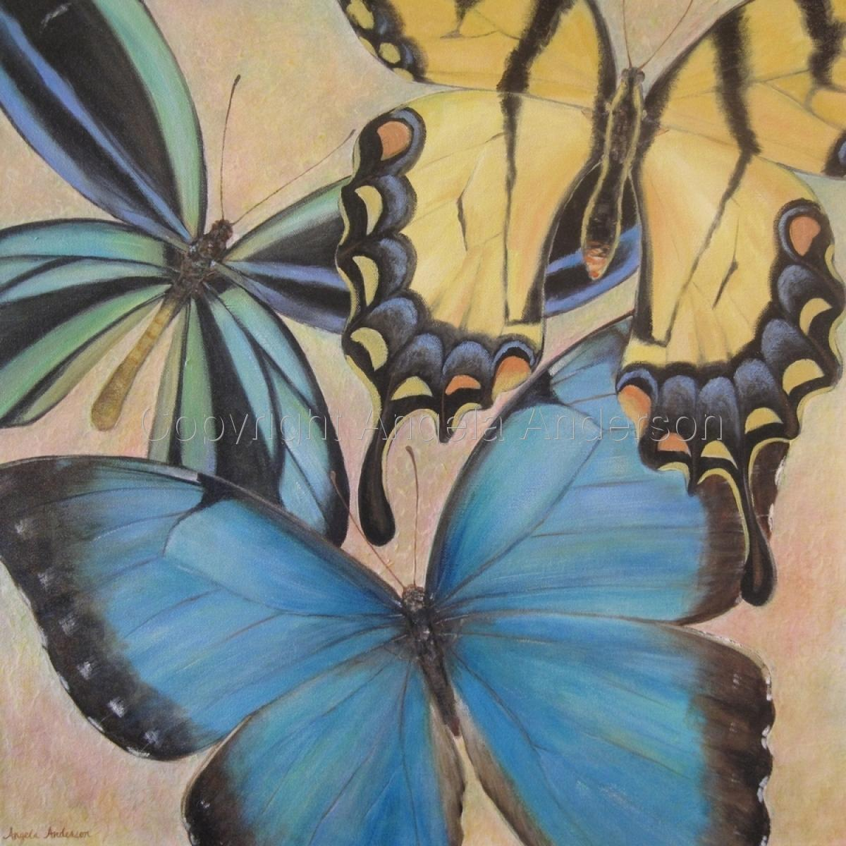 Original Acrylic Painting by artist Angela Anderson.  Three butterflies. (large view)