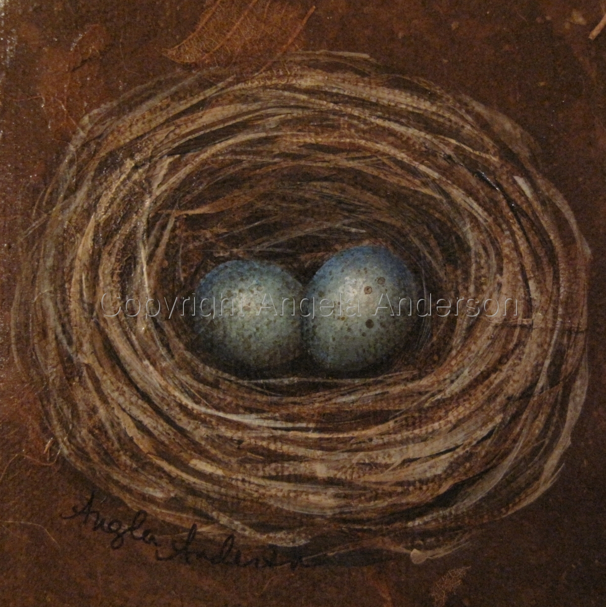 Sweet mini nest painting by artist Angela Anderson.  Mixed media, acrylics on canvas. (large view)