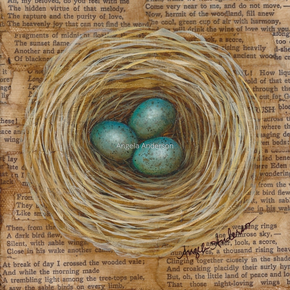 Original acrylic painting on canvas.  Mixed media painting by artist Angela Anderson with poetry in background.  Bird's nest with beautiful, speckled blue eggs.   (large view)