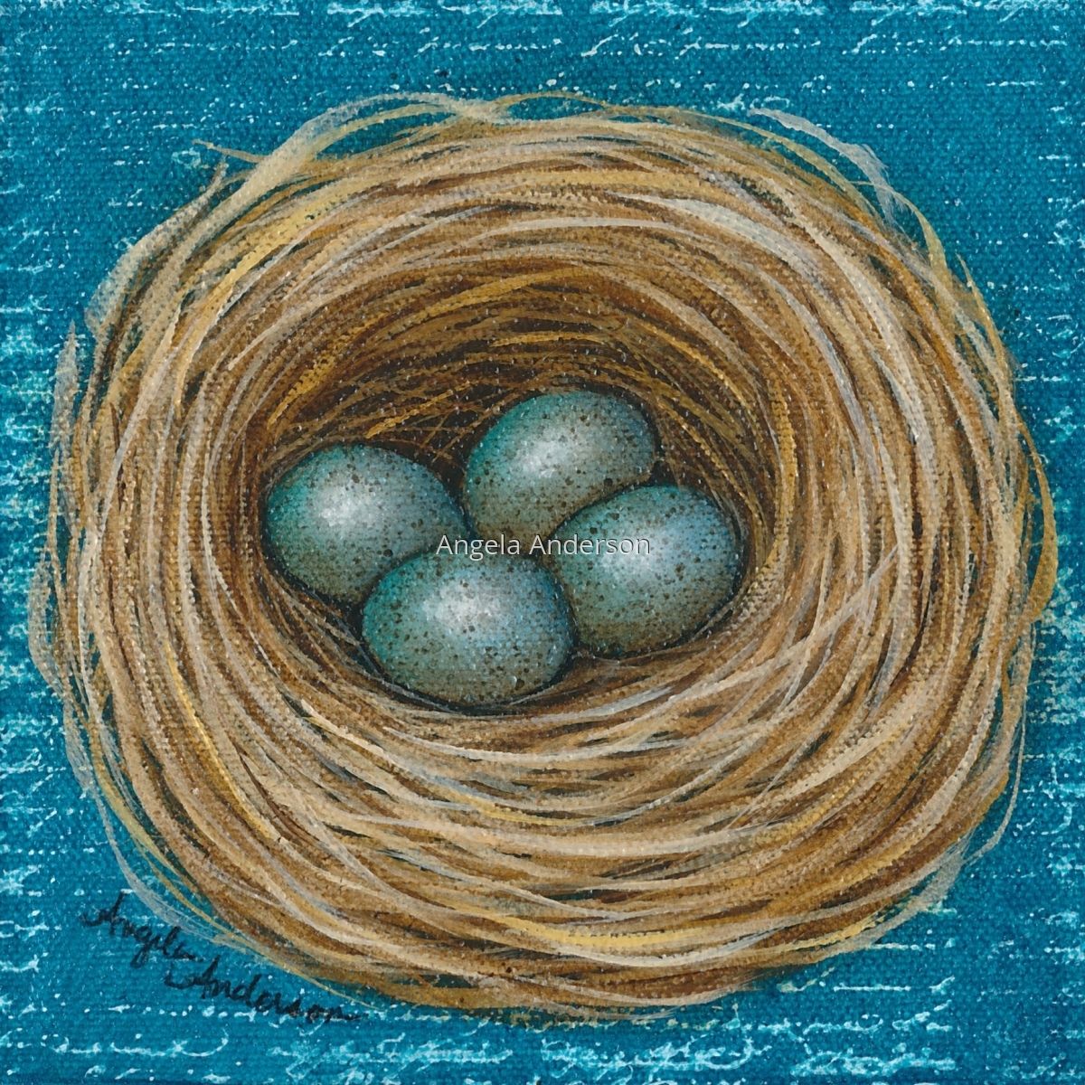 Original acrylic painting by artist Angela Anderson. Bird's nest with beautiful, speckled blue eggs.   (large view)