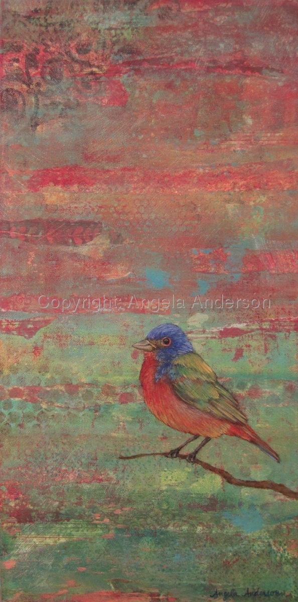 Painted Bunting bird on a mixed media canvas by artist Angela Anderson (large view)