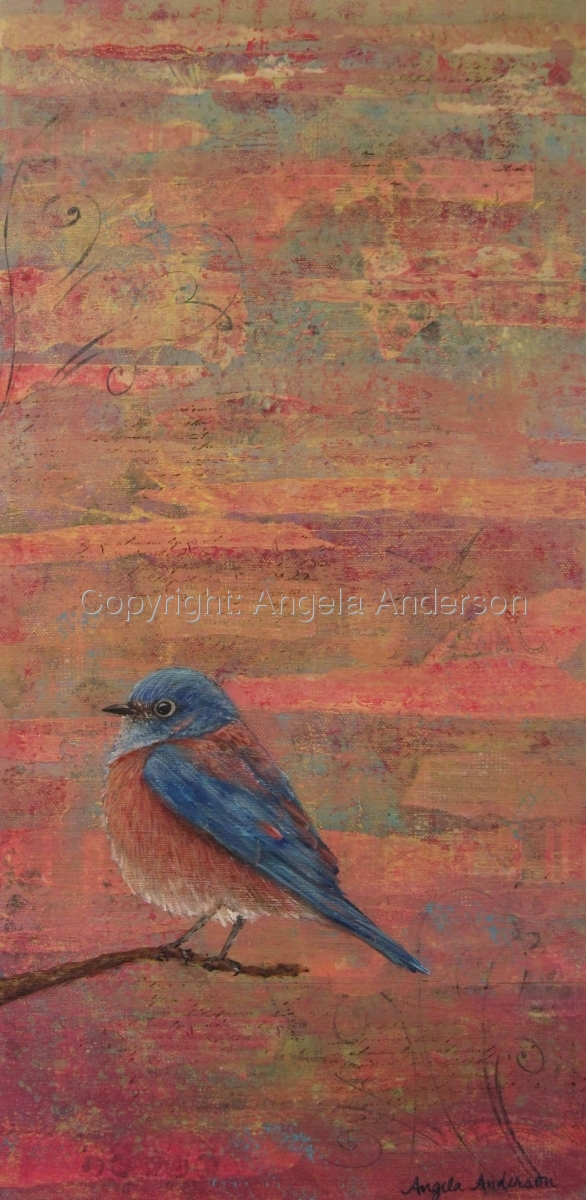 Alone With You mixed media painting of a bluebird by Angela Anderson (large view)