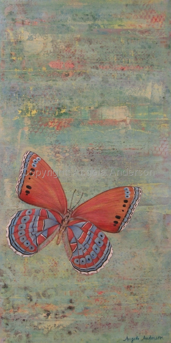 Original acrylic mixed media painting of a butterfly by artist Angela Anderson (large view)