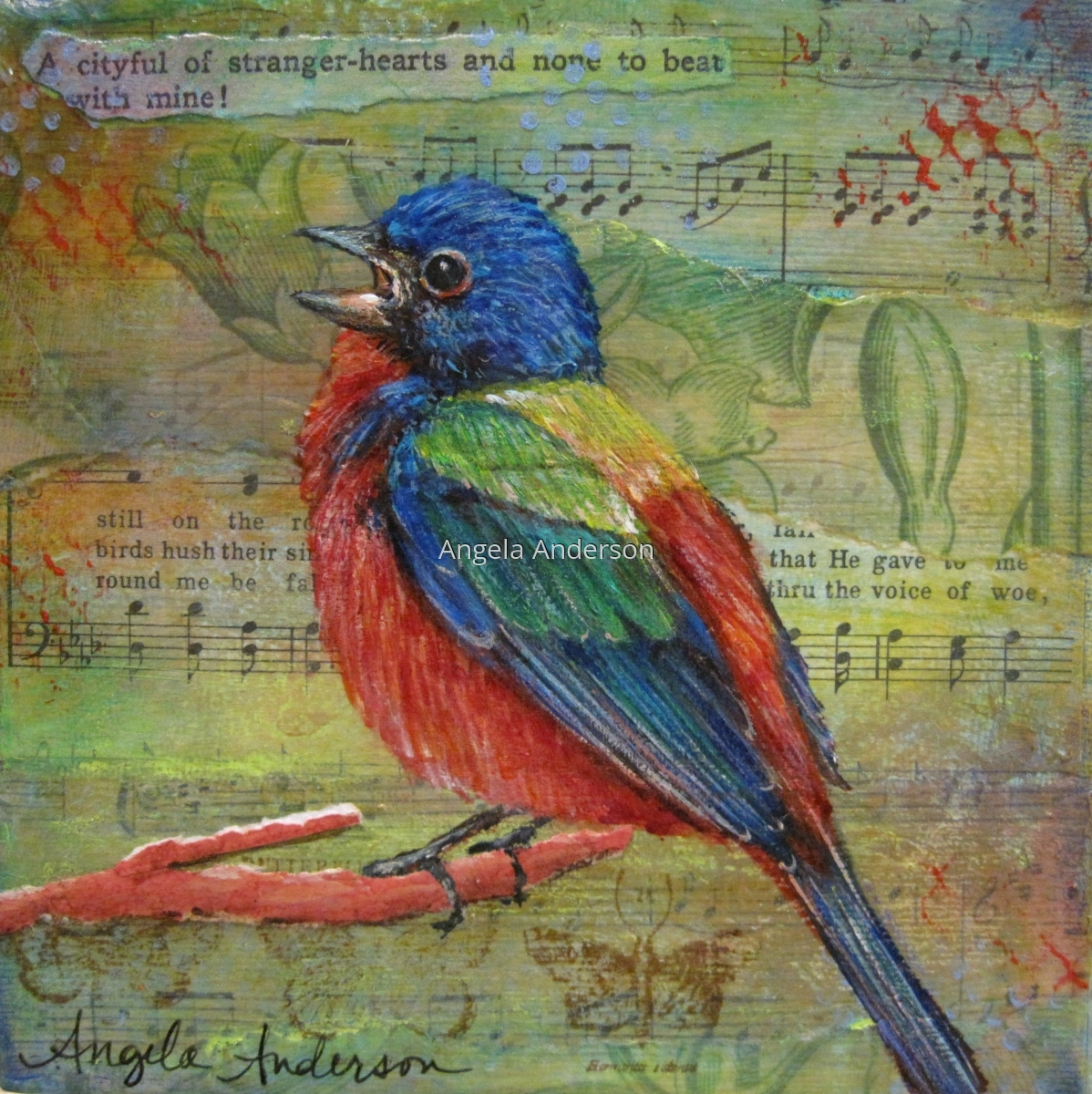 Painted Bunting Mixed Media Acrylic Original Painting by Angela Anderson (large view)