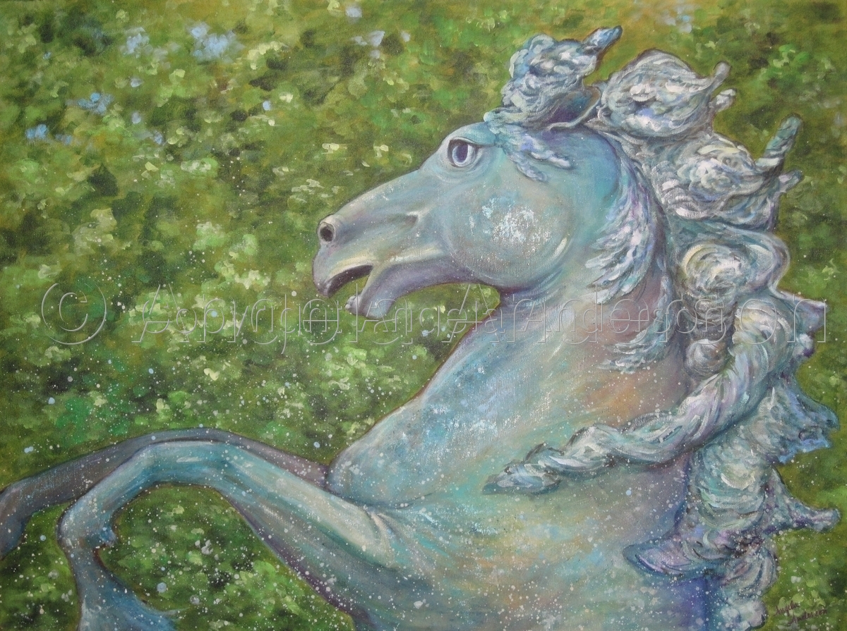 Acrylic Painting of the horse fountain at the Monument aux Girondins in Bordeaux, France by Angela Anderson (large view)
