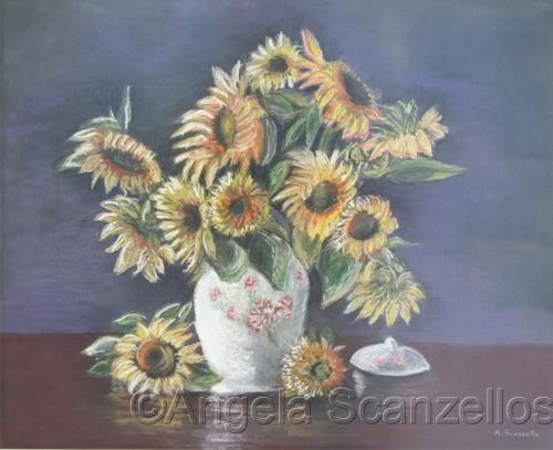 Sunflowers in Oriental Vase by Red Door Studio, Elkins Park