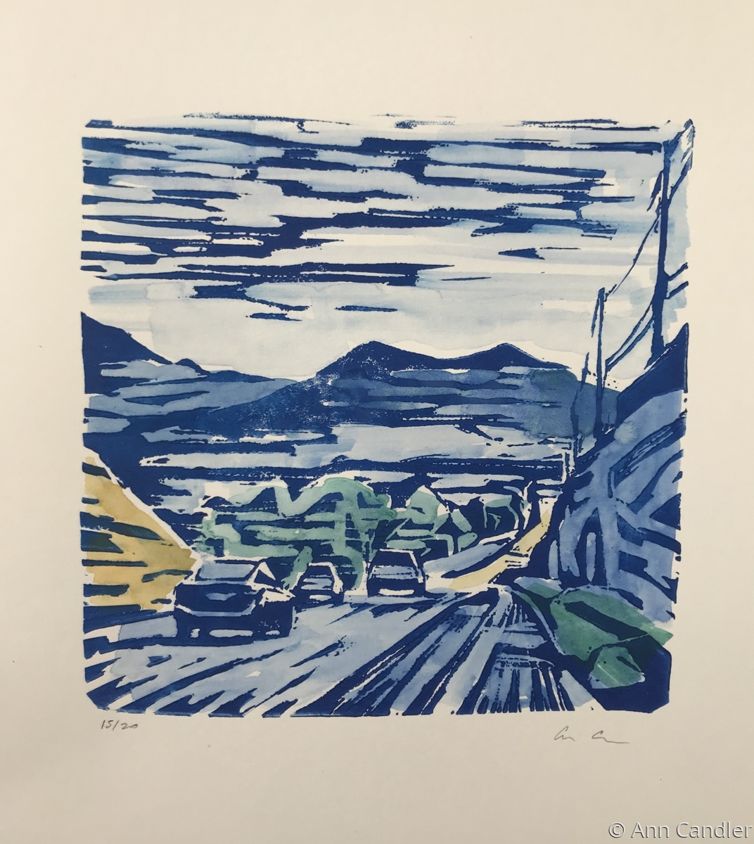 South Boulder Road (Linocut with Watercolor) (large view)