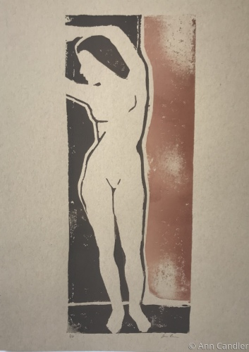Figure with Terra Cotta (Linocut)