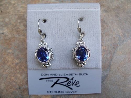 Sterling silver and French Blue topaz earrings
