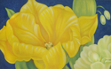 Tulips and Solomon's Seal on Blue (thumbnail)