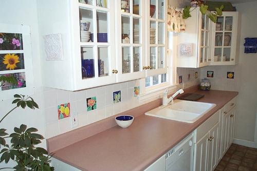 """4"""" Majolica Tiles in Kitchen"""