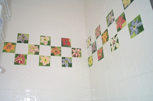 "4"" Lily Tiles In Bathroom Shower"
