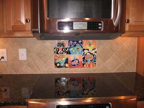 """6"""" Majolica Tiles in Kitchen Backsplash"""