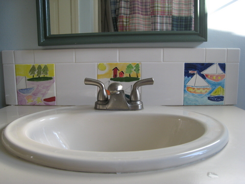 Sailboat Tiles In Bathroom