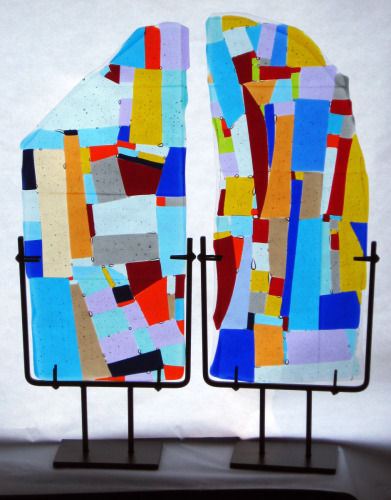 Fused Glass Panels in Stand