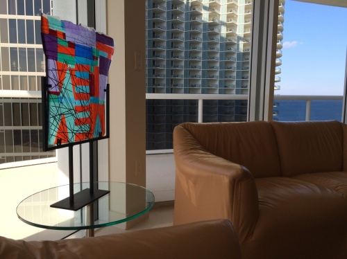 installation fused glass panel Miami