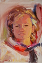 Ann Feldman, portrait, woman, palette knife, model - Portrait Painting