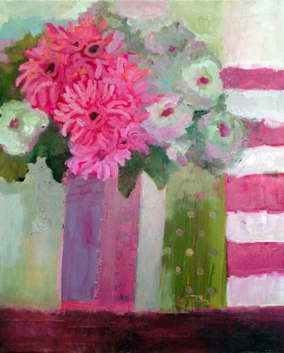 Dahlias and White Roses