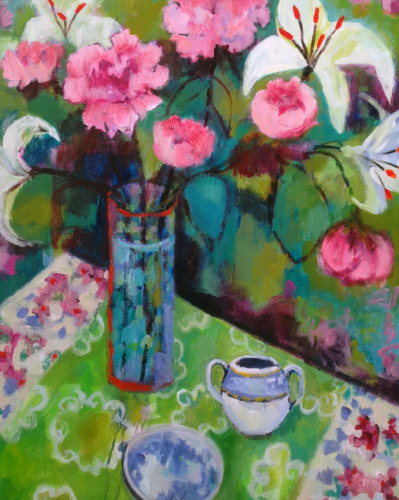 Peonies with Green Table