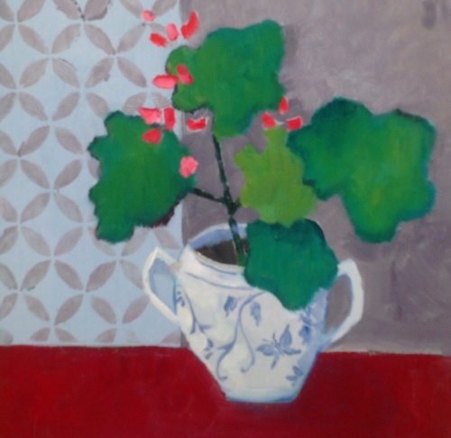 Geranium on Red Table