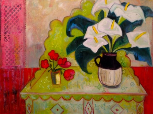 Lilies Green Desk