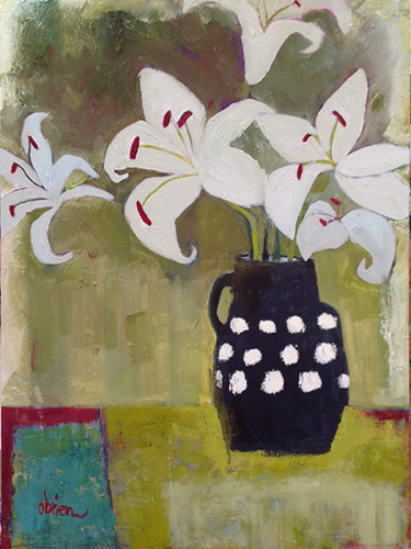 White Lilies, Black Vase
