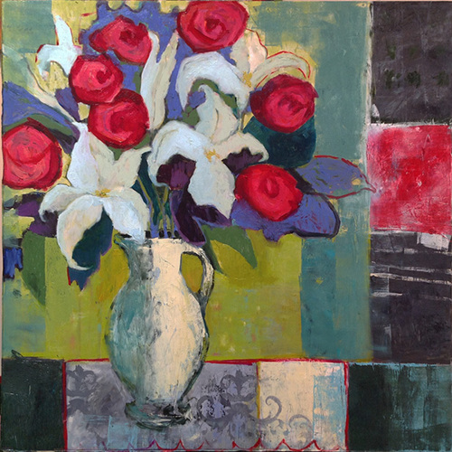 Lilies and Red Roses