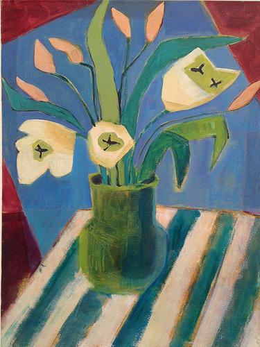 Green Vase+Ivory Tulips