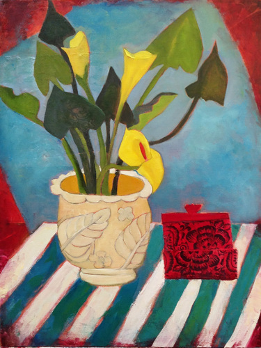 Yellow Lilies + Red Jar