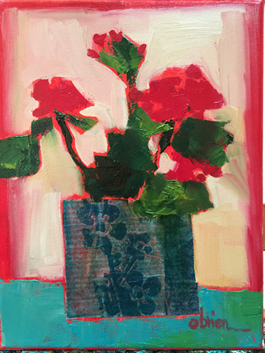Geraniums, Blue Pot