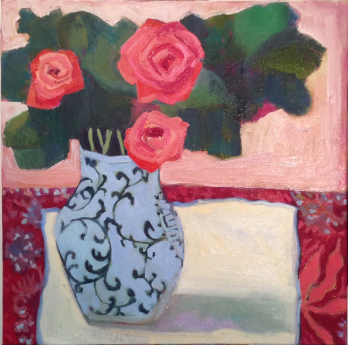 Pink Roses, White Tablecloth