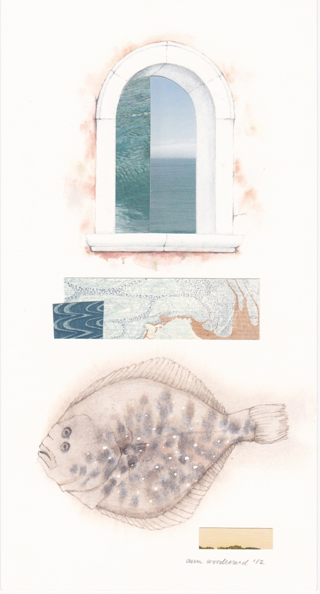 Open Venetian window, a fish and abstract collage elements (large view)
