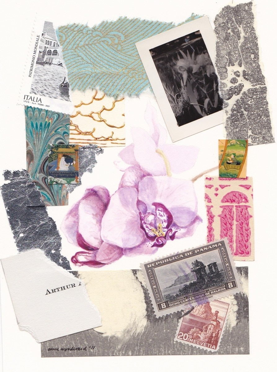 Watercolor of an orchid with collage of  stamps a photograph and abstract elements in paper and silver leaf (large view)