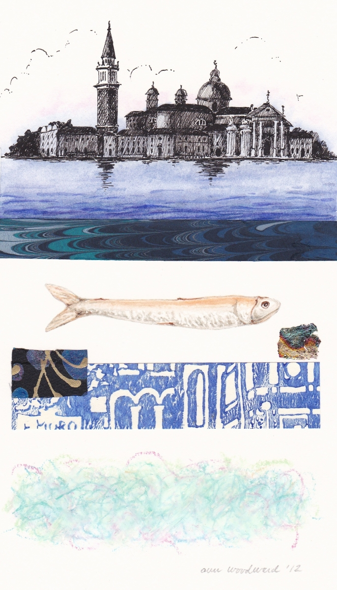 Ink drawing of Venetian scene and watercolor of a fish, combined with abstract collage and oil pastel elements (large view)