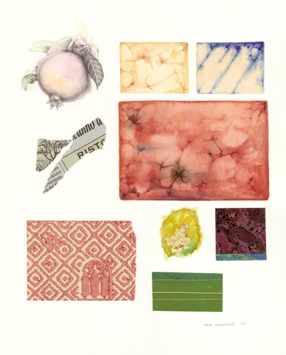 Drawing of a pomegranateand watercolor of marble Venetian tiles, combined with abstract collage and gold leaf elements (large view)