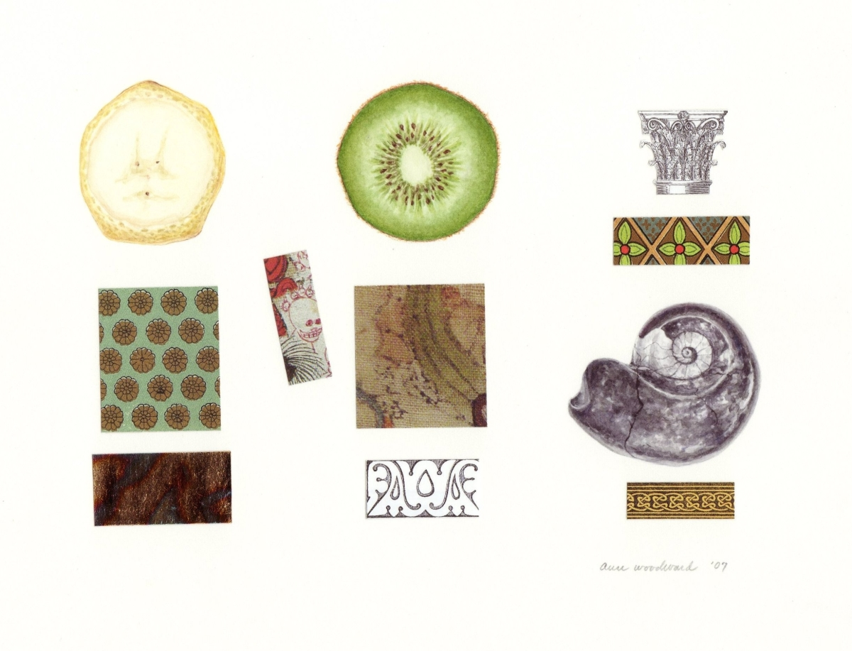 Watercolor of still life objects - fossil nautilus, banana and kiwi fruit slices - combined with abstract paper collage and metallic leaf elements (large view)