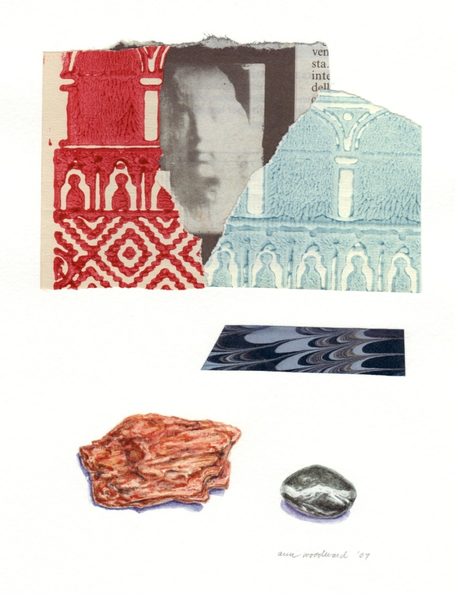 Watercolor of two stones, a newspaper photograph of a Rosso sculpture, combined with abstract collage elements using Venetian papers (large view)
