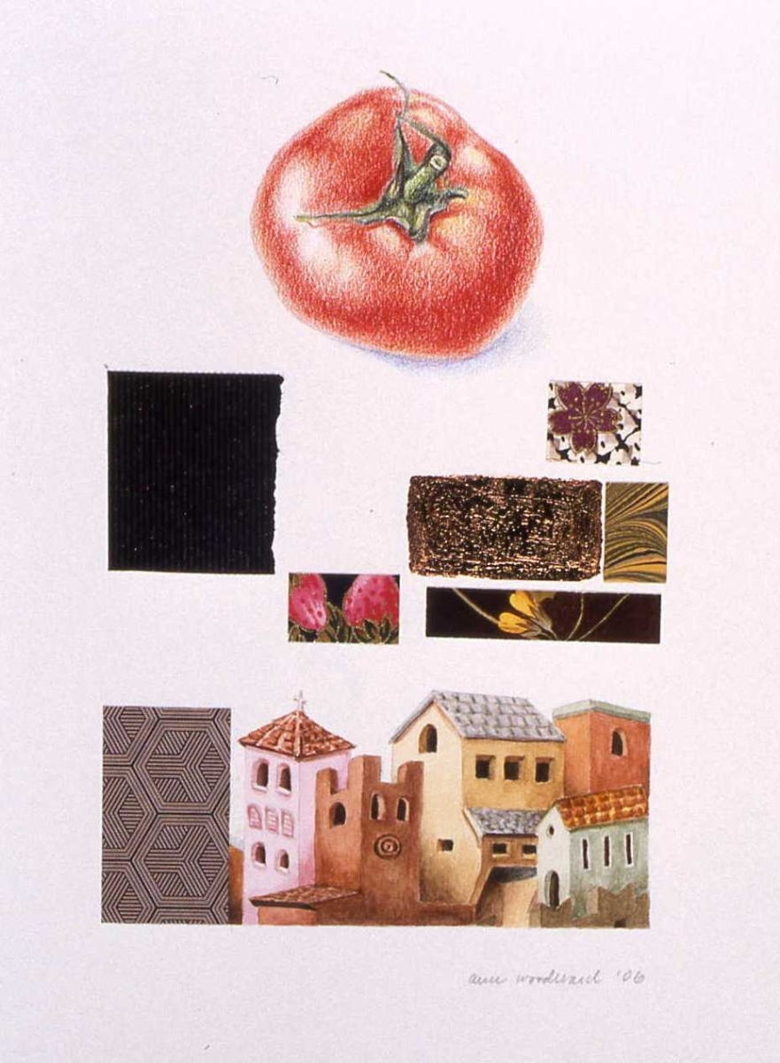 Watercolor of a medieval city from a Giotto fresco and a color pencil drawing of a tomato, combined with abstract collage and copper leaf elements (large view)