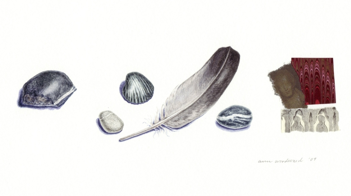 Watercolor of black still life objects - a feather, stones and shell - combined with collage element (large view)
