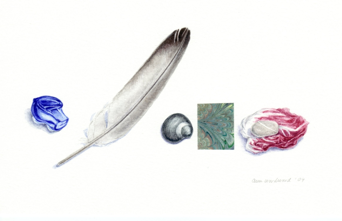 Watercolor still life of a feather, a glass fragment, a shell, and a stone on a radicchio leaf, combined with collage element (large view)