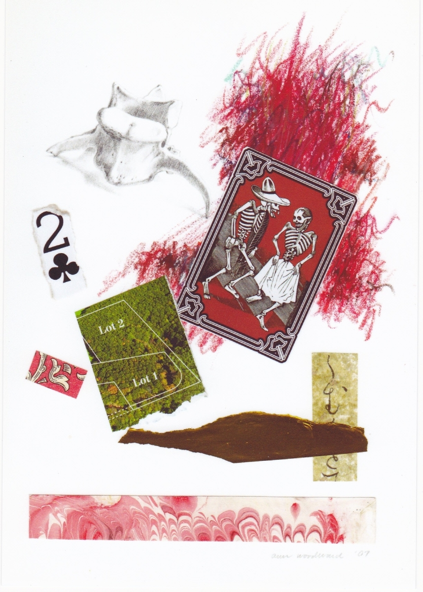 """Mixed media drawing on paper with a drawing of an animal bone combined with abstract oil pastel, a """"Day of the Dead"""" playing card, and abstract paper collage elements (large view)"""