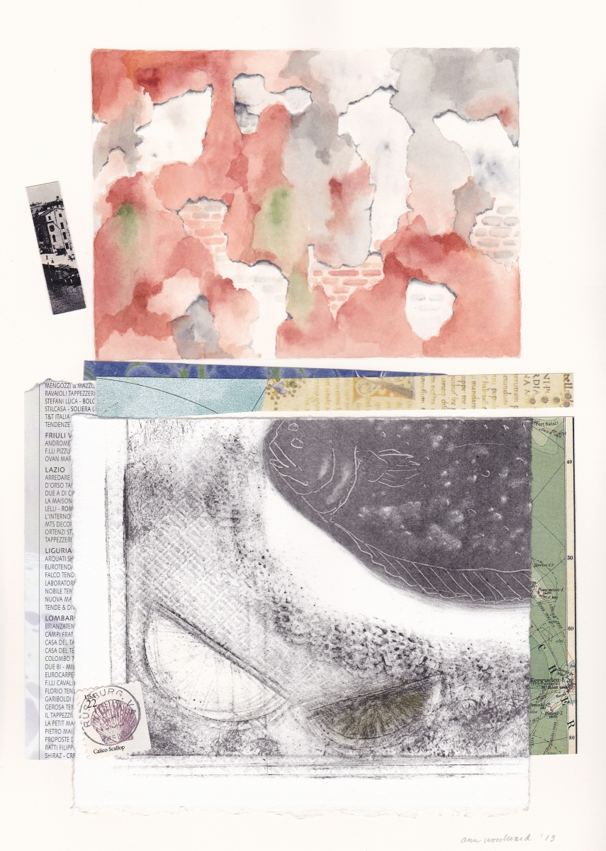 Watercolor of a section of crumbling Venetian wall and a torn fragment of a collagraph/monoprint of a fish on a plate, which are combined with map fragments, a shell stamp, and abstract paper collage elements. (large view)