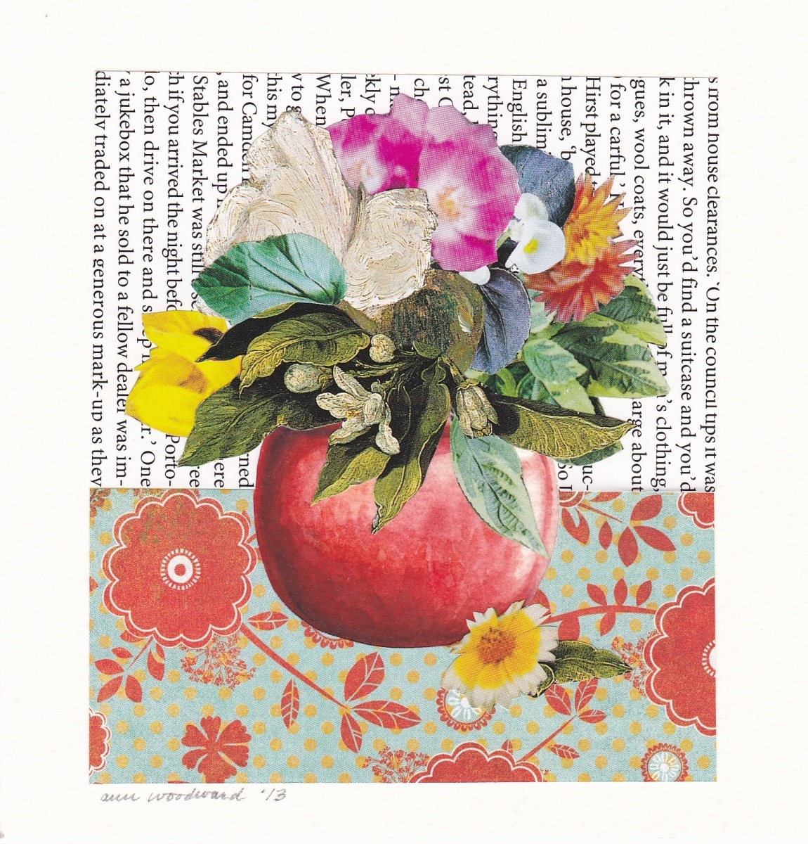 Collage of flowers in watercolor vase.  Flowers and the background are bright and multicolored, with many reds and greens (large view)