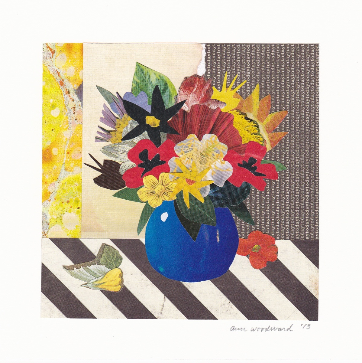 Paper collage of flowers in a blue vase.  Bright multicolored still life against an abstract black, white, and yellow background (large view)