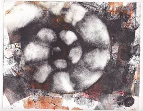 Abstracted monoprint of an ammonite fossil (large view)